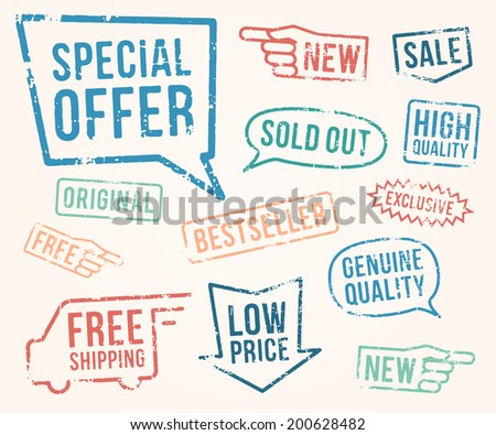Rubber stamps: new, sale, free, sold out, special offer, high quality, exclusive, bestseller, original, genuine quality, free shipping, low price over white background - stock vector