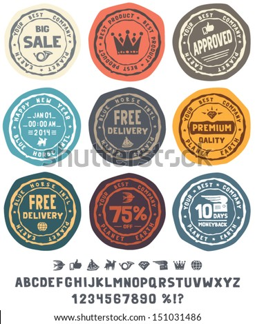 Rubber stamps set with cute retro icons and hand drawn alphabet. Vector labels set. - stock vector
