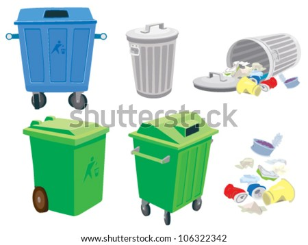 Rubbish and garbage cans and a basket