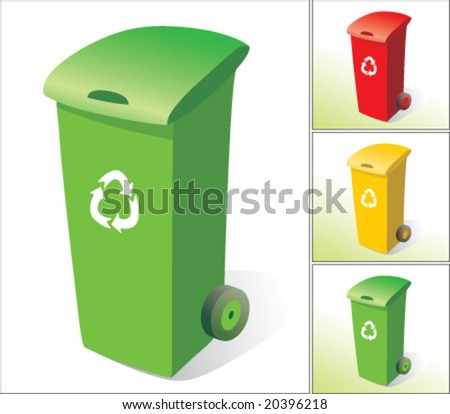 Rubbish bins, three colours - stock vector