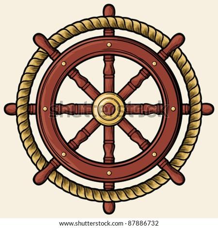 rudder design (badge, emblem) - stock vector