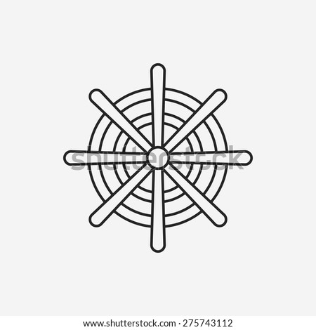 Rudder line icon - stock vector