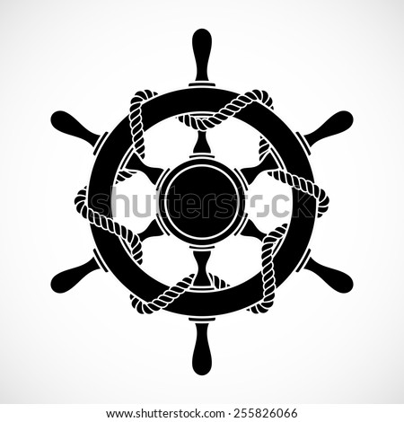 rudder with rope, silhouette style, isolated vector illustration icon on a white background. - stock vector