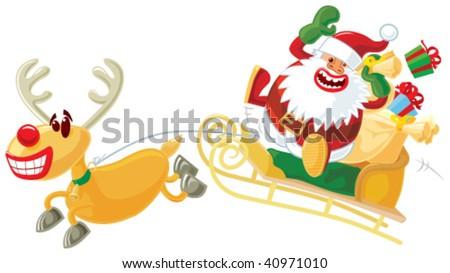 Rudolph and Santa on a sleigh - stock vector