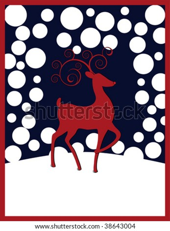 Rudolph the Red-nosed Reindeer with red swirl antlers, white round snowflakes against a dark blue background. - stock vector