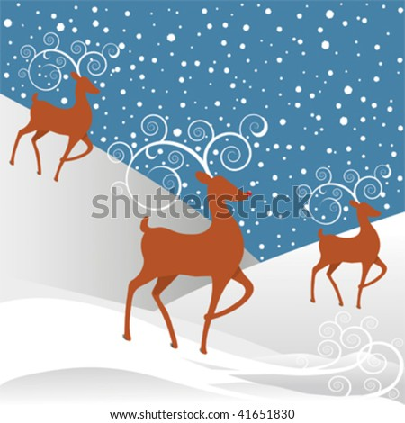 Rudolph the Red-nosed Reindeer with white swirl antlers, white round snowflakes against a blue background. - stock vector