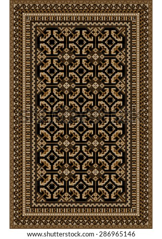 Rug with patterned beige and brown shades on a black background  - stock vector