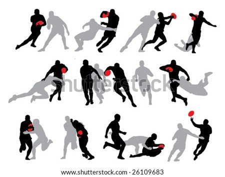 Rugby action group poses silhouette 01