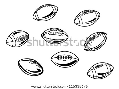 Rugby and american football balls set for sports design, such a logo template. Jpeg version also available in gallery - stock vector