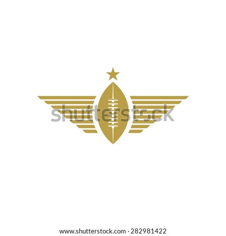 Rugby ball with wings icon, american football tournament mockup sport logo - stock vector