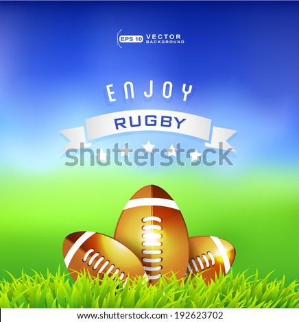 Rugby balls with white ribbon in green grass - Love football background - stock vector