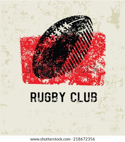 Rugby club grunge symbol,grunge vector - stock vector