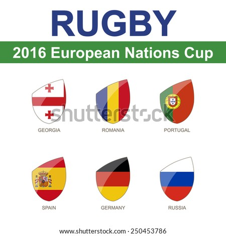 Rugby 2016 European Nations Cup, 6 Flag - stock vector