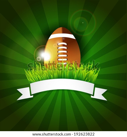 Rugby,football American  ball on grass with white ribbon and lights effect  - stock vector
