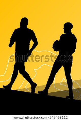 Rugby player active young men sport silhouettes abstract background vector illustration - stock vector