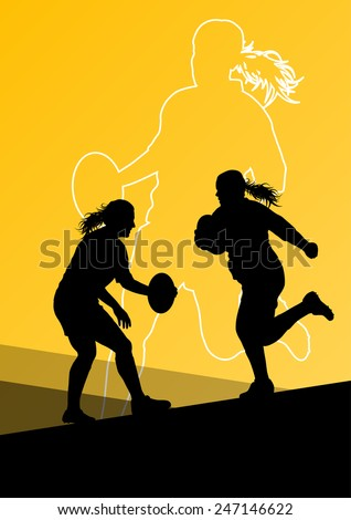 Rugby player active young women sport silhouettes abstract background vector illustration - stock vector