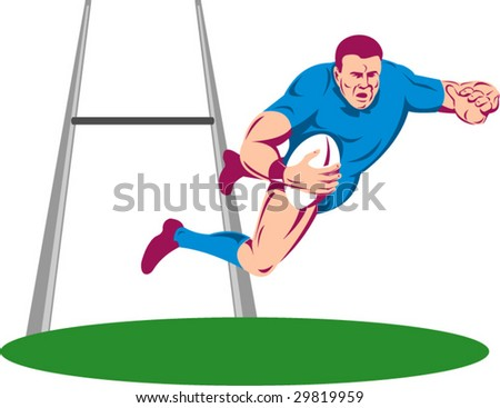 Rugby player diving to score a try with goal post in the background - stock vector