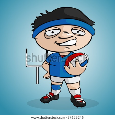 Rugby player draw in cartoon style