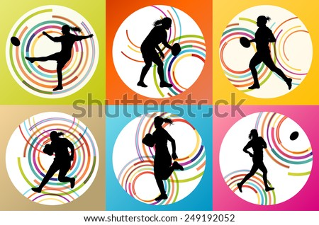 Rugby player woman silhouette vector background set - stock vector