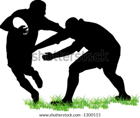 rugby players - stock vector