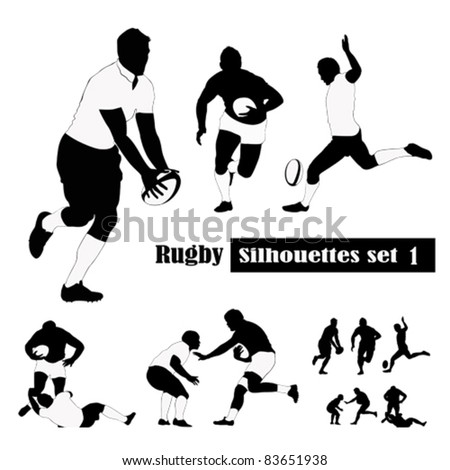 Rugby silhouettes set .Vector illustrations - stock vector