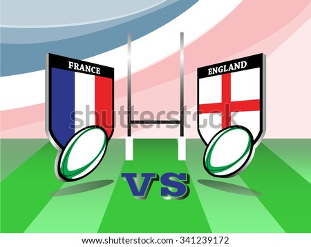 Rugby Six Nations championship 2016, France vs England match   - stock vector
