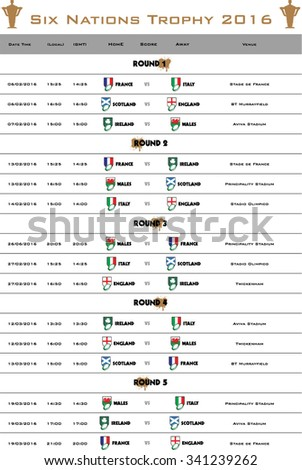 Rugby Six Nations championship 2016 schedule - stock vector