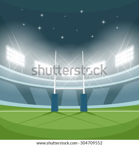 Rugby stadium with lights at night. Night light, game and goal, floodlight bright, spotlight and ground, vector illustration - stock vector