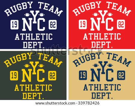 rugby team set typography, t-shirt graphics, vectors
