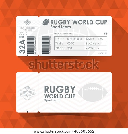 Rugby Ticket Card design, Vector illustration. - stock vector