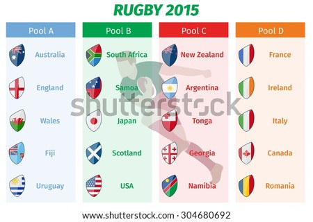 Rugby World Cup 2015 Pool A B C D teams vector set. Group sport, championship game, tournament international - stock vector