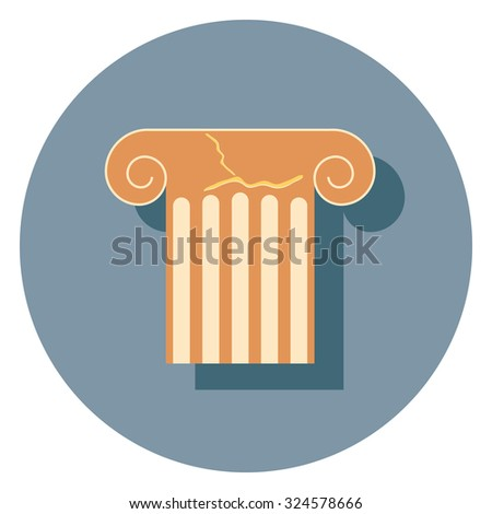 ruins flat icon in circle - stock vector