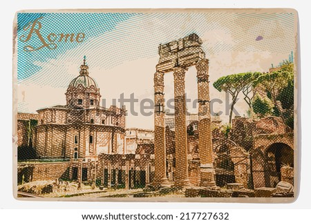 Ruins of the Roman Forum in Rome, Italy. Vintage travel postcard. - stock vector
