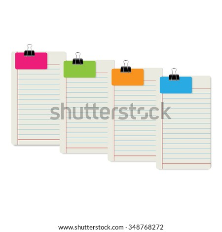 Ruled Note Paper with Clipped Color Card Vector Design - stock vector