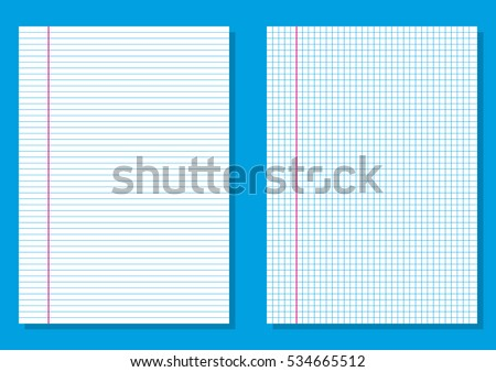 Ruled Paper. Lined And Graph Paper. Squares Or Lines Printing On Notebook  Printing On Lined Paper