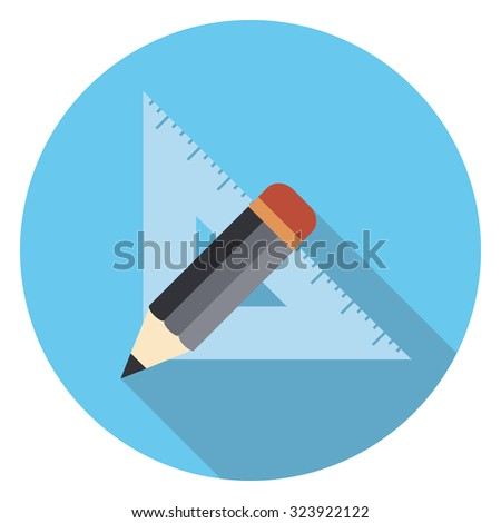 ruler and pen flat icon in circle - stock vector