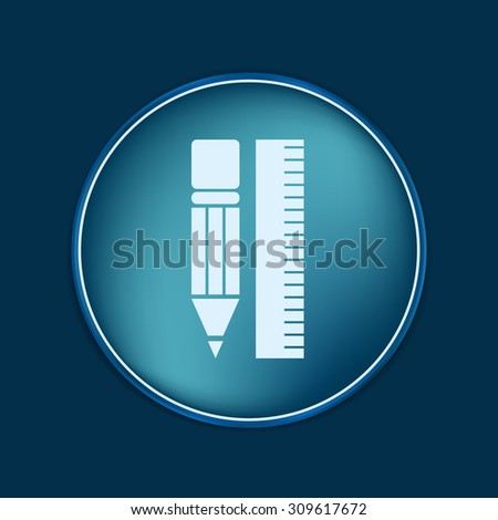 ruler and pencil. characters geometry. Education sign, symbol icon drawing and geometry - stock vector