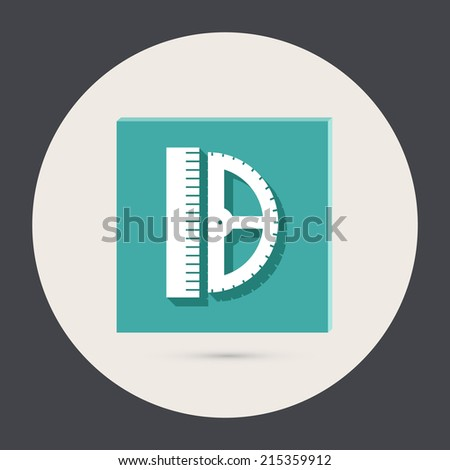 ruler and protractor. characters geometry. Education sign - stock vector