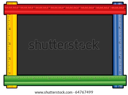 Ruler Frame Blackboard. In red, blue, yellow and green with copy space for albums, scrapbooks, back to school, education, chalkboard, literacy projects. EPS8 compatible.