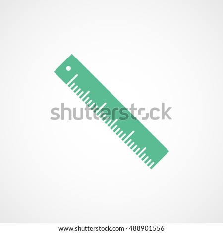 Ruler Green Flat Icon On White Background