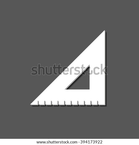 ruler instruments - white vector  icon with shadow - stock vector