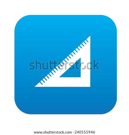 Ruler symbol design on blue button,clean vector - stock vector