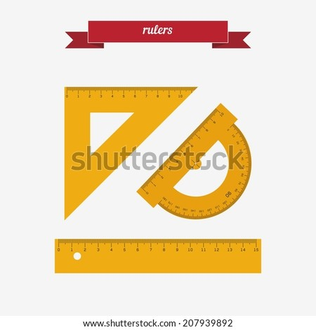 Rulers. Flat style design - vector - stock vector