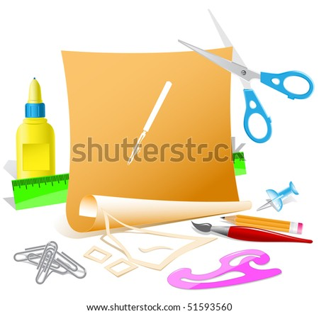 Ruling pen. Vector paper template. - stock vector