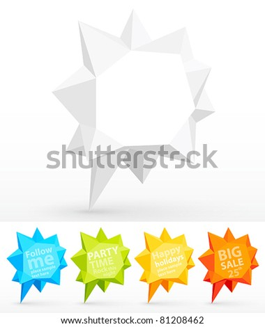 Rumpled colorful bubbles for speech. Vector illustration. - stock vector