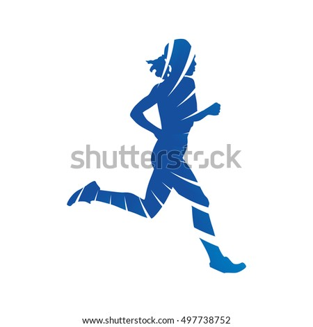 Run. Blue running woman, abstract vector silhouette
