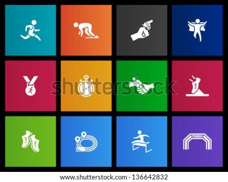 Run icon series  in Metro style - stock vector