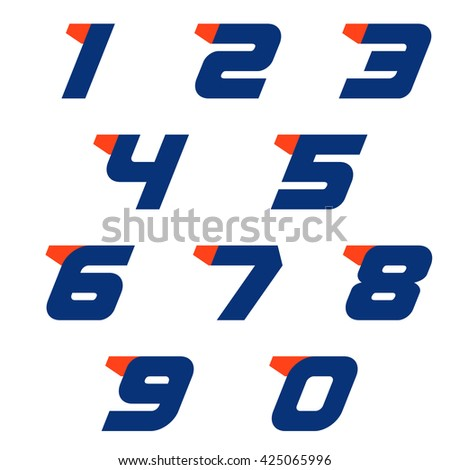 Run numbers set logo design template. Sport number. Vector sport style typeface for sportswear, sports club, app icon, corporate identity, labels or posters. - stock vector