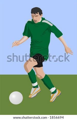 run of soccer player (vector) - stock vector