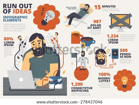 Run Out of Ideas Infographic Elements - stock vector